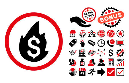 Business Fire Disaster icon with bonus icon set. Vector illustration style is flat iconic bicolor symbols, intensive red and black colors, white background. Illustration