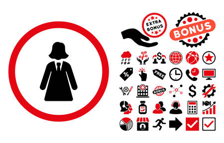 pictograph: Business Lady pictograph with bonus images. Vector illustration style is flat iconic bicolor symbols, intensive red and black colors, white background.