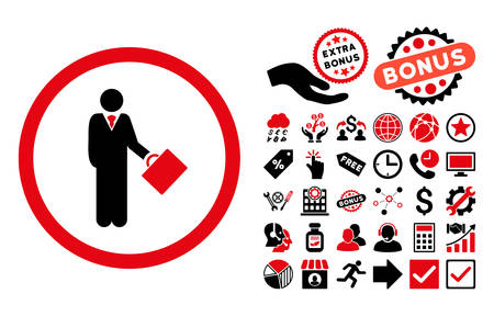 Businessman icon with bonus symbols. Vector illustration style is flat iconic bicolor symbols, intensive red and black colors, white background. Illustration