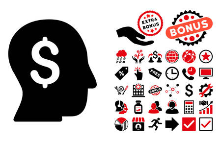 stockbroker: Businessman pictograph with bonus pictogram. Vector illustration style is flat iconic bicolor symbols, intensive red and black colors, white background.