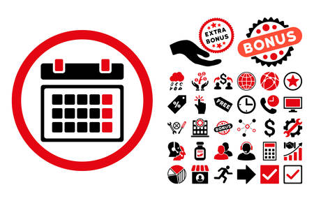 intensive: Calendar icon with bonus elements. Vector illustration style is flat iconic bicolor symbols, intensive red and black colors, white background.