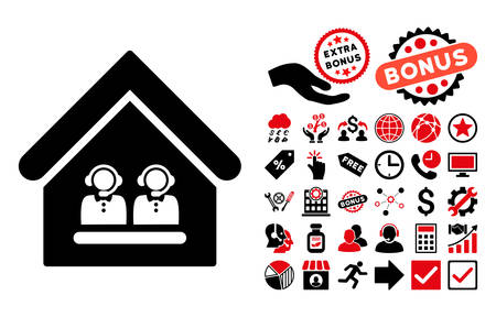 call center office: Call Center Office pictograph with bonus elements. Vector illustration style is flat iconic bicolor symbols, intensive red and black colors, white background. Illustration
