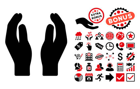 responsibilities: Care Hands icon with bonus pictograph collection. Vector illustration style is flat iconic bicolor symbols, intensive red and black colors, white background. Illustration
