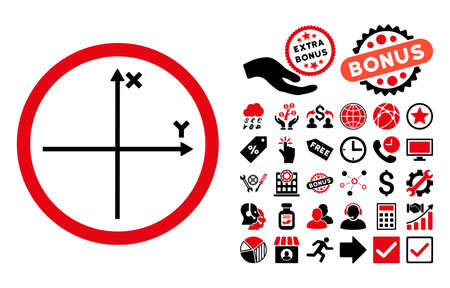 coordinates: Cartesian Axis pictograph with bonus pictures. Vector illustration style is flat iconic bicolor symbols, intensive red and black colors, white background.