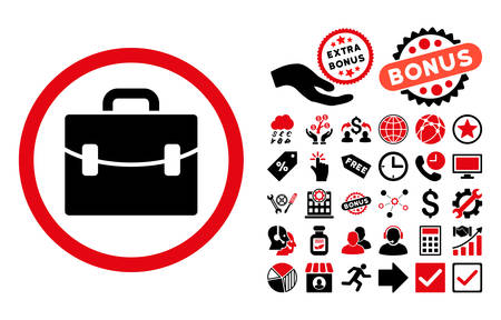 intensive: Case pictograph with bonus elements. Vector illustration style is flat iconic bicolor symbols, intensive red and black colors, white background. Illustration