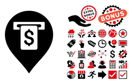 cash machine: Cash Machine Pointer pictograph with bonus pictograph collection. Vector illustration style is flat iconic bicolor symbols, intensive red and black colors, white background.