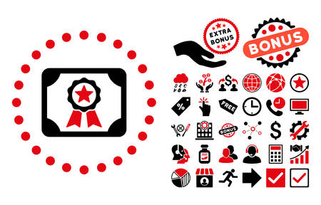 attest: Certificate pictograph with bonus clip art. Vector illustration style is flat iconic bicolor symbols, intensive red and black colors, white background. Illustration