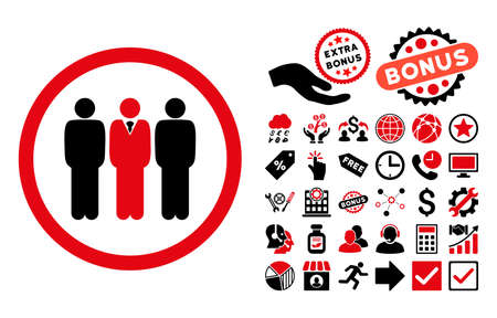 command: Clerk Staff pictograph with bonus pictogram. Vector illustration style is flat iconic bicolor symbols, intensive red and black colors, white background.