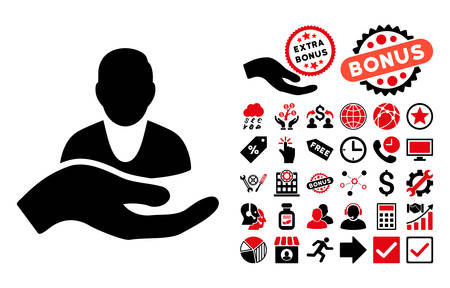 intensive care: Client Care Hand pictograph with bonus clip art. Vector illustration style is flat iconic bicolor symbols, intensive red and black colors, white background. Illustration