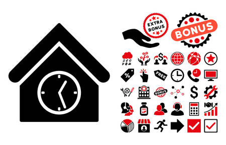 clockface: Clock Building pictograph with bonus design elements. Vector illustration style is flat iconic bicolor symbols, intensive red and black colors, white background. Illustration