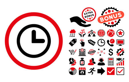 clockface: Clock pictograph with bonus design elements. Vector illustration style is flat iconic bicolor symbols, intensive red and black colors, white background.