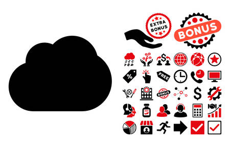 saas: Cloud icon with bonus design elements. Vector illustration style is flat iconic bicolor symbols, intensive red and black colors, white background.
