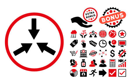 shrink: Collide Arrows pictograph with bonus elements. Vector illustration style is flat iconic bicolor symbols, intensive red and black colors, white background.