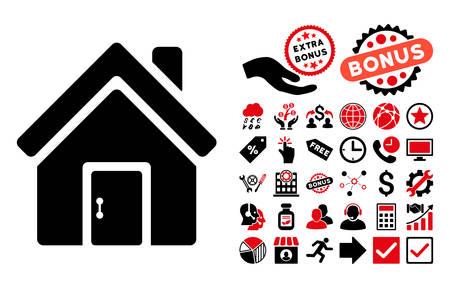 Cerrado pictograma puerta de la casa con el icono de bonus de conjunto. ilustración vectorial estilo es llano bicolor símbolos icónicos, colores rojo y negro, fondo blanco intensivos. Ilustración de vector