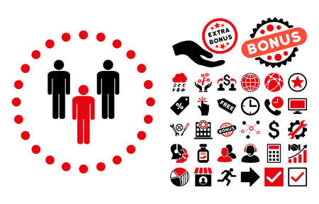 Community pictograph with bonus pictogram. Vector illustration style is flat iconic bicolor symbols, intensive red and black colors, white background.