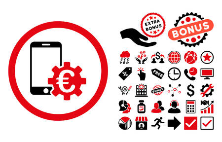 configure: Configure Mobile Euro Bank pictograph with bonus icon set. Vector illustration style is flat iconic bicolor symbols, intensive red and black colors, white background.
