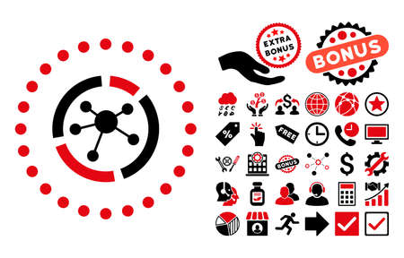 linkage: Connections Diagram icon with bonus pictograph collection. Vector illustration style is flat iconic bicolor symbols, intensive red and black colors, white background. Illustration