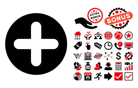 firstaid: Create icon with bonus pictures. Vector illustration style is flat iconic bicolor symbols, intensive red and black colors, white background.