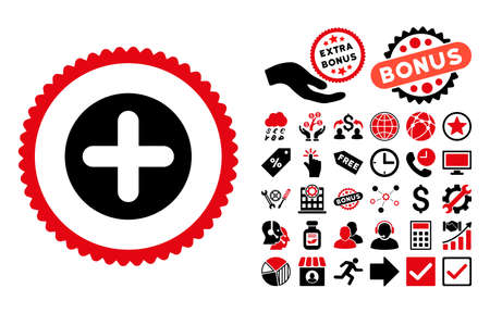 Create pictograph with bonus symbols. Vector illustration style is flat iconic bicolor symbols, intensive red and black colors, white background.