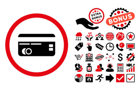 creditcard: Credit Card icon with bonus design elements. Vector illustration style is flat iconic bicolor symbols, intensive red and black colors, white background. Illustration