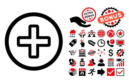 firstaid: Create icon with bonus symbols. Vector illustration style is flat iconic bicolor symbols, intensive red and black colors, white background.