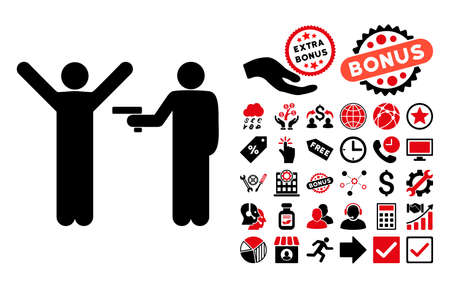brute: Crime Robbery icon with bonus pictogram. Vector illustration style is flat iconic bicolor symbols, intensive red and black colors, white background.