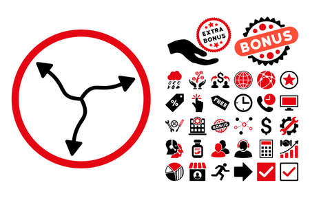 Curve Arrows pictograph with bonus clip art. Vector illustration style is flat iconic bicolor symbols, intensive red and black colors, white background. Illustration