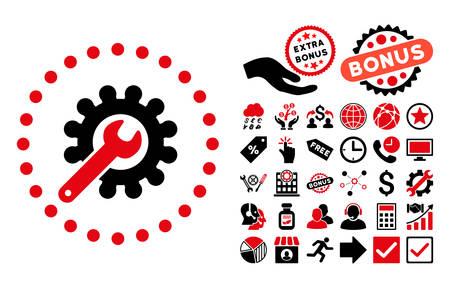 Customization pictograph with bonus icon set. Vector illustration style is flat iconic bicolor symbols, intensive red and black colors, white background. Illustration