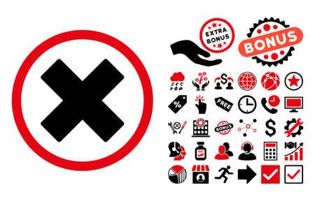 Icône Supprimer X-Cross avec collection bonus pictograph. Vector illustration style est plat symboles iconiques bicolor, les couleurs rouges et noirs intenses, fond blanc.