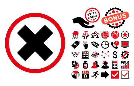 Delete X-Cross icon with bonus pictograph collection. Vector illustration style is flat iconic bicolor symbols, intensive red and black colors, white background.