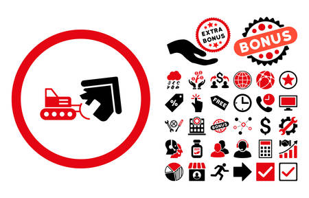 Demolition pictograph with bonus elements. Vector illustration style is flat iconic bicolor symbols, intensive red and black colors, white background. 向量圖像