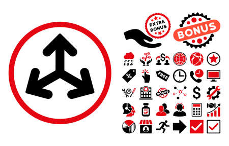 variants: Direction Variants icon with bonus images. Vector illustration style is flat iconic bicolor symbols, intensive red and black colors, white background.