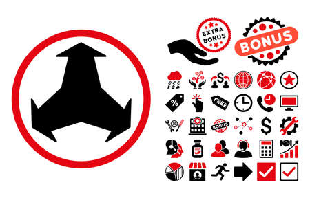 redirect: Directions pictograph with bonus clip art. Vector illustration style is flat iconic bicolor symbols, intensive red and black colors, white background.
