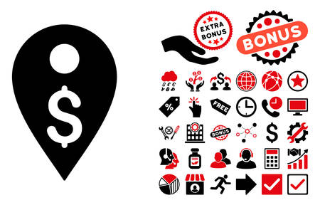 financial position: Dollar Map Marker icon with bonus clip art. Vector illustration style is flat iconic bicolor symbols, intensive red and black colors, white background. Illustration
