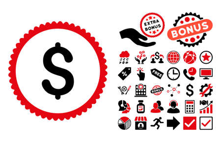Dollar icon with bonus icon set. Vector illustration style is flat iconic bicolor symbols, intensive red and black colors, white background.