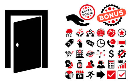 log out: Door icon with bonus pictures. Vector illustration style is flat iconic bicolor symbols, intensive red and black colors, white background.