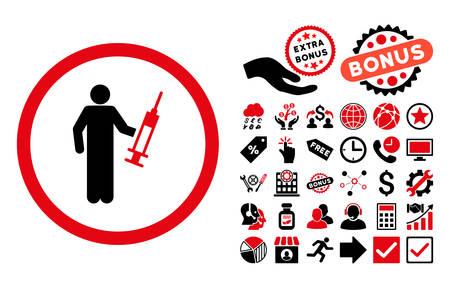 drug dealer: Drug Dealer icon with bonus design elements. Vector illustration style is flat iconic bicolor symbols, intensive red and black colors, white background.