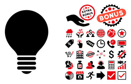 Electric Bulb pictograph with bonus design elements. Vector illustration style is flat iconic bicolor symbols, intensive red and black colors, white background.