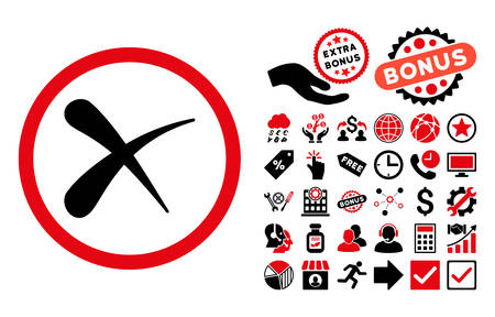 Erase pictograph with bonus icon set. Vector illustration style is flat iconic bicolor symbols, intensive red and black colors, white background.