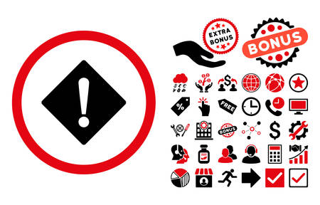 Error icon with bonus elements. Vector illustration style is flat iconic bicolor symbols, intensive red and black colors, white background. Illustration