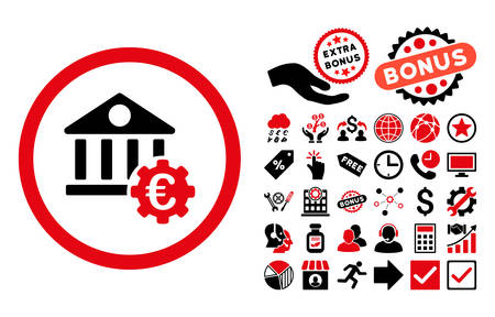 historical: Euro Bank Settings pictograph with bonus symbols. Vector illustration style is flat iconic bicolor symbols, intensive red and black colors, white background.