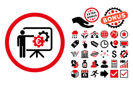 presentaion: Euro Business Project Presentation icon with bonus elements. Vector illustration style is flat iconic bicolor symbols, intensive red and black colors, white background.