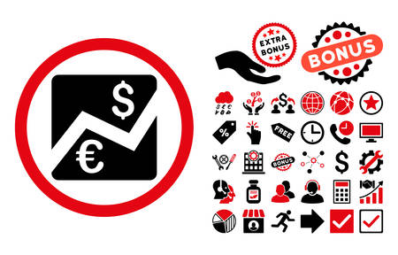 stockmarket: Euro Dollar Chart icon with bonus design elements. Vector illustration style is flat iconic bicolor symbols, intensive red and black colors, white background.