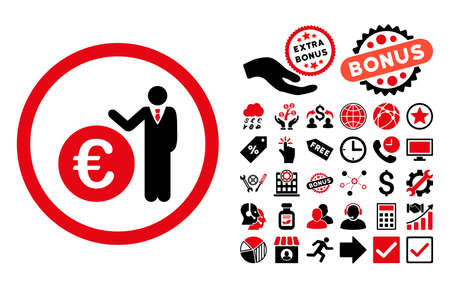 economist: Euro Economist icon with bonus images. Vector illustration style is flat iconic bicolor symbols, intensive red and black colors, white background. Illustration
