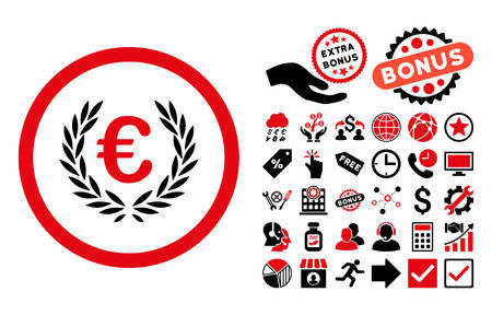 cognizance: Euro Glory pictograph with bonus icon set. Vector illustration style is flat iconic bicolor symbols, intensive red and black colors, white background. Illustration