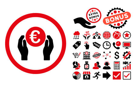 Euro Insurance Hands icon with bonus elements. Vector illustration style is flat iconic bicolor symbols, intensive red and black colors, white background. Illustration