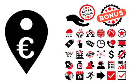 financial position: Euro Map Marker pictograph with bonus design elements. Vector illustration style is flat iconic bicolor symbols, intensive red and black colors, white background. Illustration