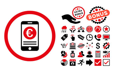 mobile banking: Euro Mobile Banking pictograph with bonus design elements. Vector illustration style is flat iconic bicolor symbols, intensive red and black colors, white background. Illustration