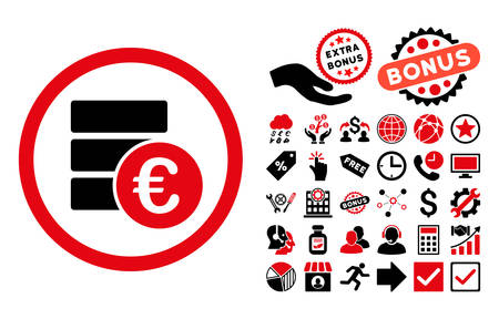 Euro Money Database pictograph with bonus pictograph collection. Vector illustration style is flat iconic bicolor symbols, intensive red and black colors, white background.