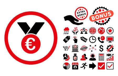 Euro Prize Medal pictograph with bonus pictograph collection. Vector illustration style is flat iconic bicolor symbols, intensive red and black colors, white background.